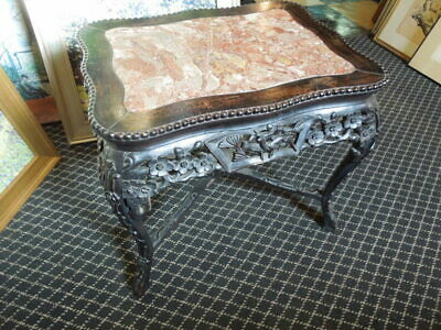 19th C. Chinese Rosewood, Pink Marble Top Occasional Rectangle Table,