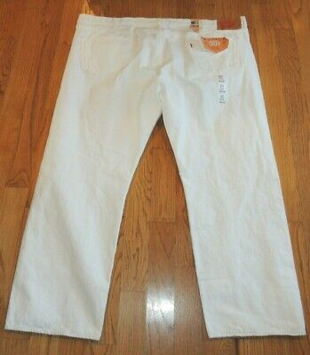 Nwt Mens Levi Strauss & Co 501 White Denim Jeans 56 X 32 Button Fly Straight