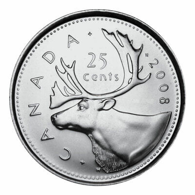 2008 RCM Logo CANADA 25 Cent Coin from Mint Roll UNC