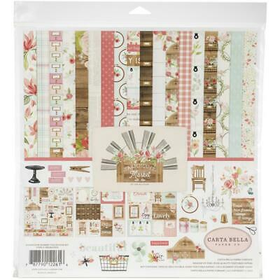"""Carta Bella 'FARMHOUSE MARKET' 12"""" Collection Paper Pack + Stickers Floral"""
