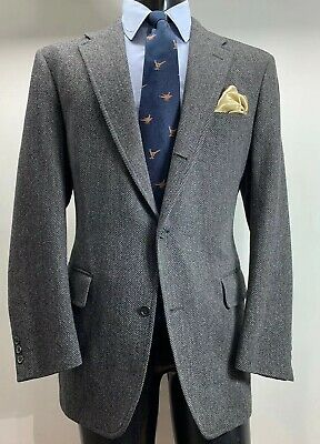 J Press Wool Tweed Gray Herringbone Sport Coat Jacket Men's 42 R 3/2 Roll