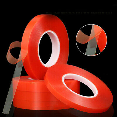 Double Sided Super Sticky Clear Tape Red Strong Craft DIY Roll 1 3 5 8 10mm x50M