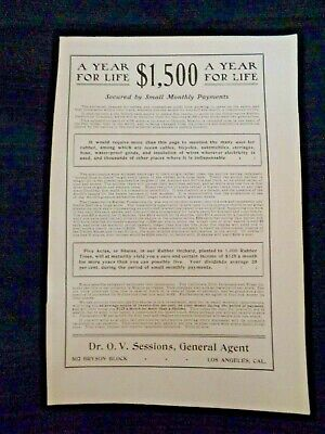 Print Ad 1903 Rubber Tree Investment Return Los Angeles National Bank Savings