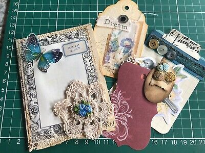 Hand made Shabby chic Folder Pocket Pouch For Junk Journal With Ephemera Tags