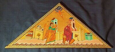 ORIGINAL GREEK CHRISTIAN ICON 30 x 15 inches GOLD LEAF HAND PAINTED ANGEL ETC