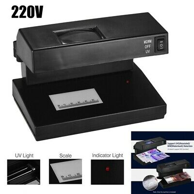 UV Counterfeit Money Checker Fake Paper Bank Note Currency Detector Scanner/220V