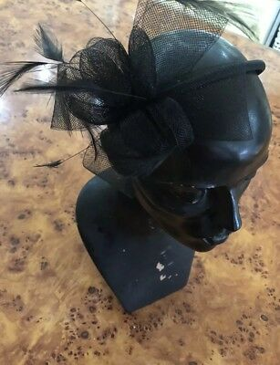 Black Fascinator Feather And Mesh Bow Pretty Special Occasion Head Band Headwear