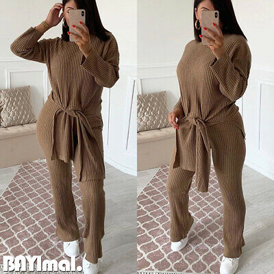 Womens Knitted Long Sleeve Tops Pants Ladies Casual Plain Tracksuit Lounge Wear