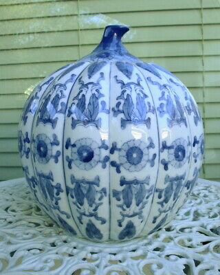 Vintage Blue & White Large Chinese Porcelain Pumpkin Ginger Jar