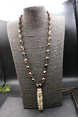 Tibetan Old Agate Tiger Tooth dZi Bead Necklace Totem 6 OM True Words Pendant LS