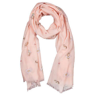 Wrendale Designs Mouse and Daisy Scarf - Peach