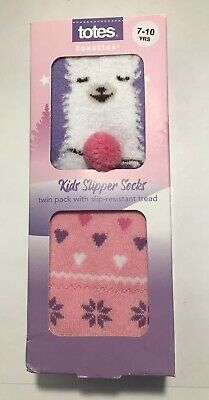 ⭐️ Totes Girls Slipper Socks Slip-Resistant Tread - Llama Hearts, Pack of 2
