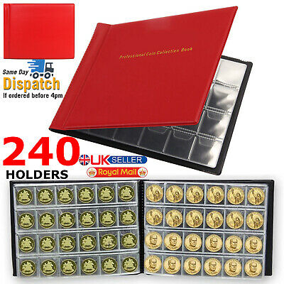 240 Coins Collection Album Money Storage Holder Case Coin Collecting Book UK