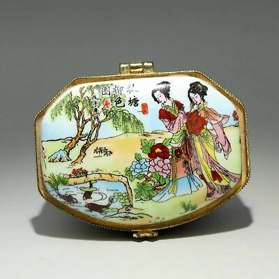 Collect China Old Porcelain Hand Paint Fairy Delicate Unique Decorate Jewel Box