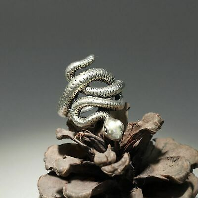 Collectable China Old Miao Silver Hand-Carve Malicious Snake Delicate Decor Ring