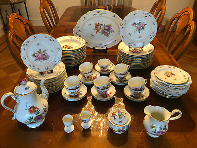 Antique Meissen Porcelain Hand Painted 19th c Floral Dinner Service for 12