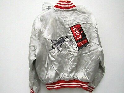 Vintage 80s Coke Coca Cola Space Shuttle Embroidery Silver Red Satin Jacket Sz L