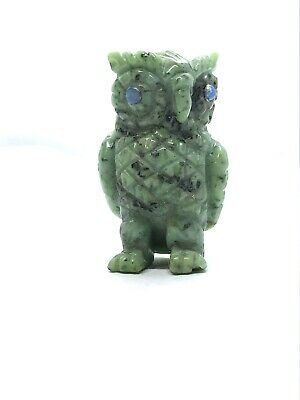 Lovely Jade Nephrite Hand Carved Owl With Doublet Black Opal Eyes