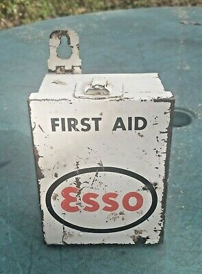 Rare Vintage Esso Oil Small Metal First Aid Box
