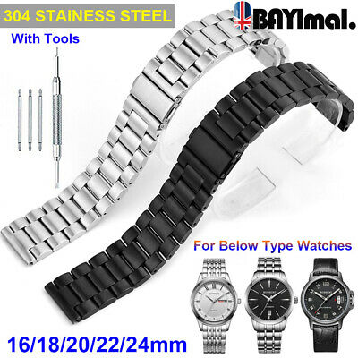 Men's Stainless Steel Solid Links Watch Band Strap Bracelet Curved End 16-24mm