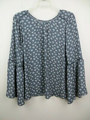 Womens gray blue feather print boho blouse size M LOFT long bell sleeves embroid
