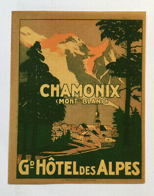 Hotel Luggage Label | Grand Hotel des Alpes Chamonix France | MINT Small Version