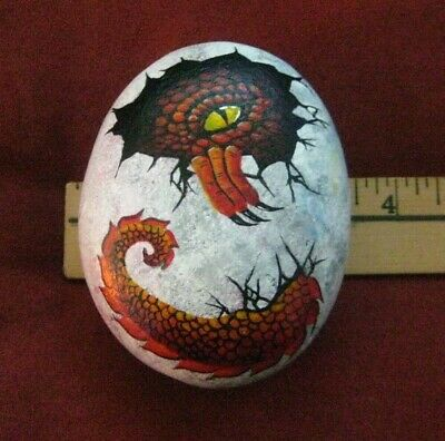 "Hand Painted River Rock Stone Art by ""KAT"" Baby Dinosaur Egg Jurassic Wild Life"