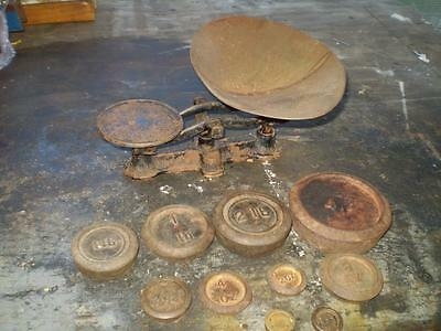 VINTAGE old post office scale & 11 weights Collectable great as display item