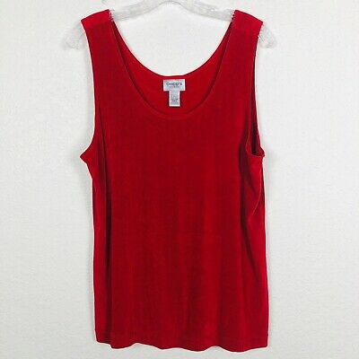 Chico Travelers Womens Cami Tank Top Size 3 Acetate Stretch Red Cranberry