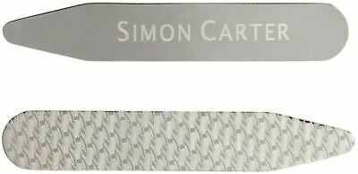 Simon Carter Mens Etched Collar Stiffeners - Silver