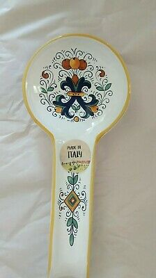 Nova Deruta Italy Spoon Rest White Blue Yellow Red Hand Painted New NWT Ceramic