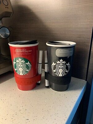 2 NEW Starbucks Red Black Double Wall Ceramic Travel Mug TUMBLER