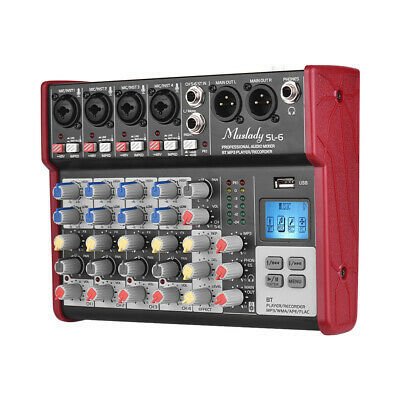 Professional 6 Channels BT DJ Mixer Sound Mixing Console With USB MP3 Jack P9Y0