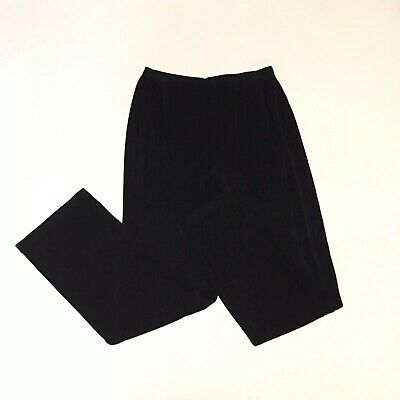 Chicos Travelers Black Slinky Knit Acetate Pull On Lounge Pants Womens 2 Medium
