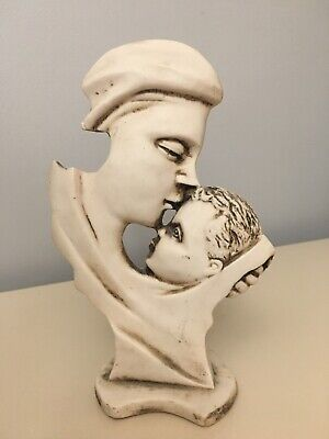 """Mexican Folk Art Hand Carved Bone Sculpture Mother Baby Love 8"""" tall signed"""