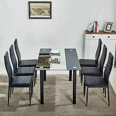 Modern Glass Dining Table and 4 Chairs Set 6 Seater Leather with Black White Top