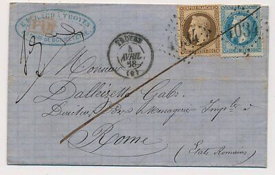 Lettre France N°29,30 Troyes Aube Rome Cover Italy Italia