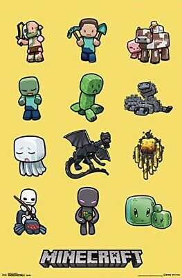 MINECRAFT ~ 12 CHARACTERS 22x34 VIDEO GAME POSTER Mine Craft