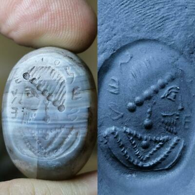 Very Old Unique Near Eastern King Seal intaglio stone stamp BEAD # 151