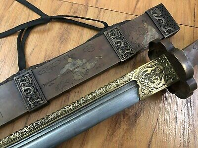 """Excellent Collectible Chinese """" Qing Dao""""Sword Damascus Sharp Blade Brass Sheath"""