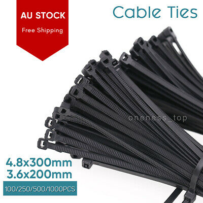 Cable Ties Zip Ties Nylon UV Stabilised 100/1000PCS Bulk Black Cable Tie AU