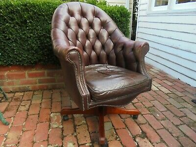 Vintage Leather Button Back Swivel Chair Chesterfield Style
