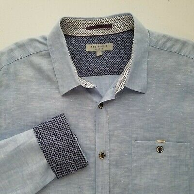 Ted Baker London Mens Linen Blend Button Front Shirt Flip Cuff Size 4 Large M109