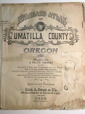 Standard Atlas Of Umatilla County OR 1914 With Townships Plats Pendleton