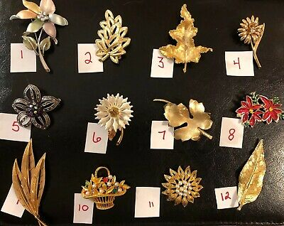 Pick A Brooch Pin- Vintage -Now - Flowers Leaves Leaf Gerry's Jj Gold Silver B40