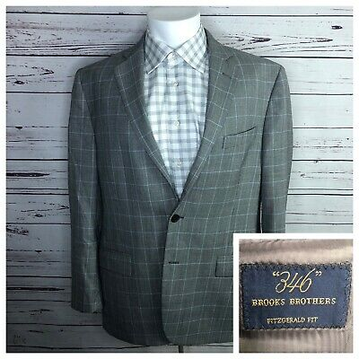 Brooks Brothers 44R Fitzgerald Fit Gray Blue Window Pane Plaid Sports Coat 2 BTN