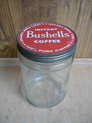 Vintage Large Bushells Coffee Jar – Red Metal Screw Top Lid