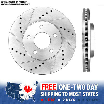 Front Drill And Slot Brake Rotors For 2006 2007 2008 2009 2010 2011 Chevy HHR