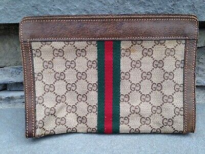 Vintage Gucci Italy Made GG Monogram Small 9x6 Canvas/Leather Envelope Pouch Bag