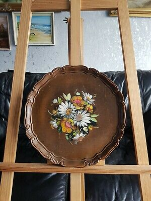 Charming Small Oil Painting Of Flowers On A Round Carved Wooden Plate